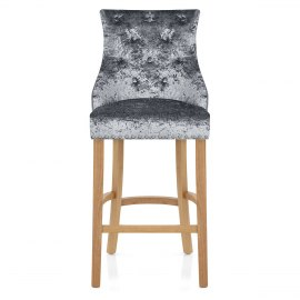 Ascot Oak Stool Grey Velvet