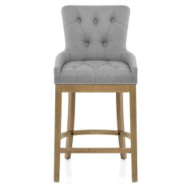 Knightsbridge Oak Stool Grey Fabric