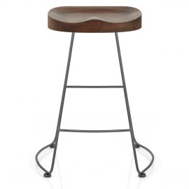 Freedom Grey Stool Dark Wood