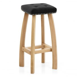 Cromwell Oak Stool Black Velvet