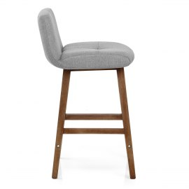 Impulse Wooden Stool Grey Fabric