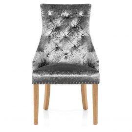 Ascot Oak Dining Chair Grey Velvet