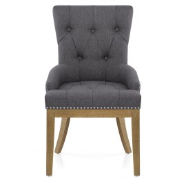 Knightsbridge Oak Chair Charcoal Fabric