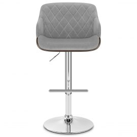 Dakota Bar Stool Grey Velvet
