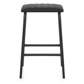 Sasha Real Leather Stool Black