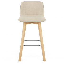Tide Wooden Stool Beige Fabric