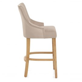 Richmond Oak Bar Stool Beige Fabric