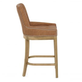 Knightsbridge Oak Stool Brown Leather