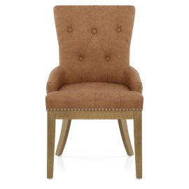Knightsbridge Oak Chair Brown Leather