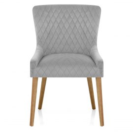 City Oak Chair Grey Velvet