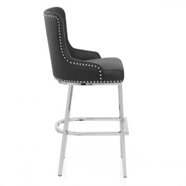 Grange Bar Stool Black Leather