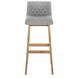 Colt Oak Stool Grey Velvet