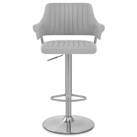 Skyline Brushed Stool Grey Fabric