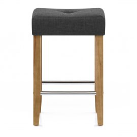 Otis Oak Bar Stool Charcoal Fabric