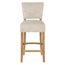 Ramsay Oak Bar Stool Beige Velvet