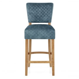 Ramsay Oak Bar Stool Blue Velvet