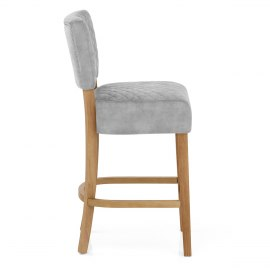 Ramsay Oak Bar Stool Grey Velvet