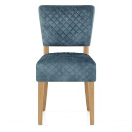 Ramsay Oak Dining Chair Blue Velvet