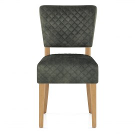Ramsay Oak Dining Chair Green Velvet