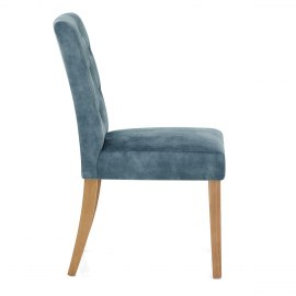 Banbury Oak Dining Chair Blue Velvet