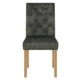 Banbury Oak Dining Chair Green Velvet