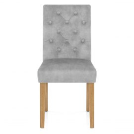 Banbury Oak Dining Chair Grey Velvet