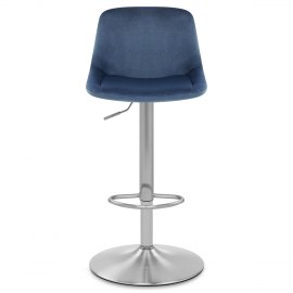 Scoop Brushed Stool Blue Velvet