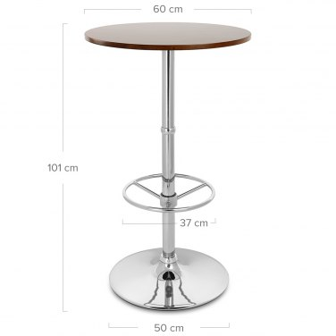 Dial Poseur Table Walnut Dimensions