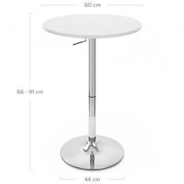 Ambassador Gas Lift Bar Table White Dimensions