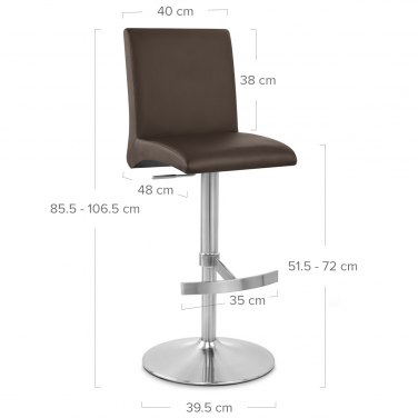 Deluxe Brushed High Back Stool Brown Atlantic Shopping