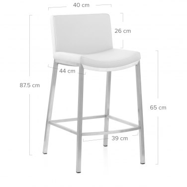 Capone Brushed Steel Stool White