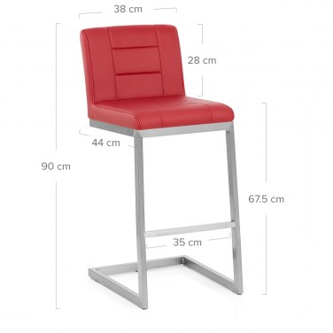 Blazer Brushed Steel Stool Red
