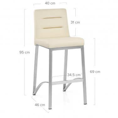 Stella Brushed Steel Stool Cream