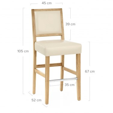 Jasper Leather Bar Stool Oak & Cream