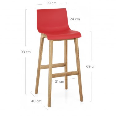 Drift Oak & Red Bar Stool