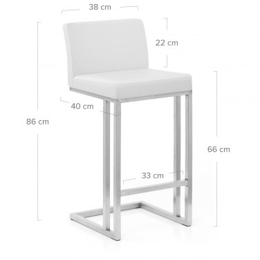 Robin Brushed Steel Stool White
