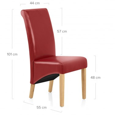 Carlo Oak Chair Red Leather