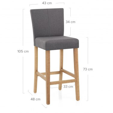 Cornell Oak Bar Stool Grey Fabric