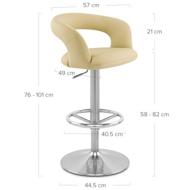 Monza Brushed Steel Bar Stool Cream