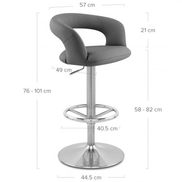 Monza Brushed Steel Bar Stool Grey
