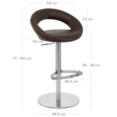 Real Leather Crescent Bar Stool Brown
