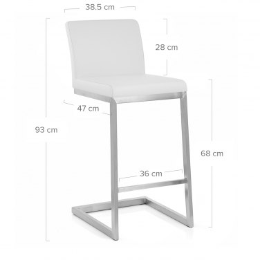Ace Brushed Steel Stool White