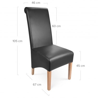 Krista Madras Leather Dining Chair Black