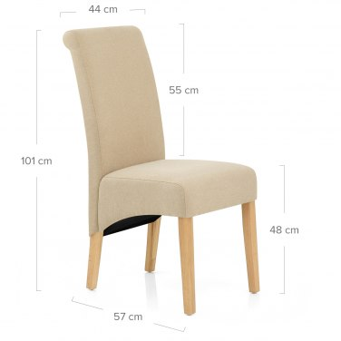 Carlo Oak Chair Beige Fabric