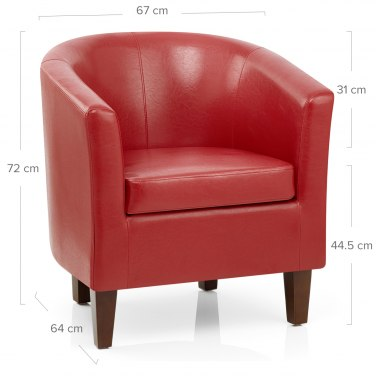 Tub Chair Red Faux Leather