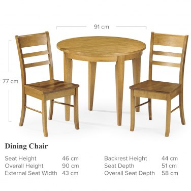 Consort Wooden Dining Set Dimensions