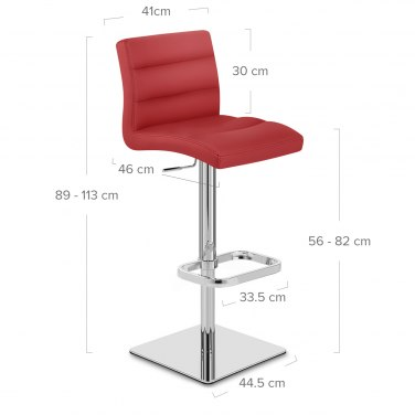 Lush Real Leather Chrome Stool Red