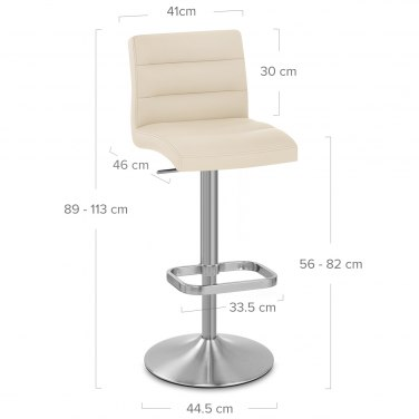 Lush Brushed Steel Bar Stool Cream