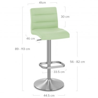 Lush Brushed Steel Bar Stool Green