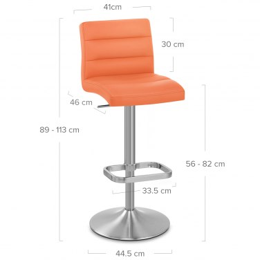 Lush Brushed Steel Bar Stool Orange
